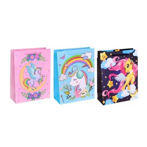 Dream cards Пакет подарочный с мат.лам. и глит.18х24х8,5см(M) Сказочный единорожек, 210 г ППК-5378
