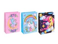 Dream cards Пакет подарочный с мат. лам. и глит. 26х32х10 см(L) Сказочный единорожек, 210 г ППК-5406