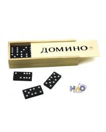 Домино (пластиковые фишки) в деревянной коробке 14x5 см P00070 М