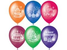 """M 10""""/25см Пастель+Декоратор (растр) 2 ст. рис Торт С Днем Рождения 50шт шар латекс"""
