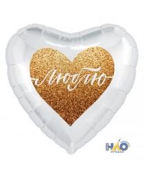 Шар Agura Сердце Люблю золотое (19 дюймов, 25 шт в уп) 752814