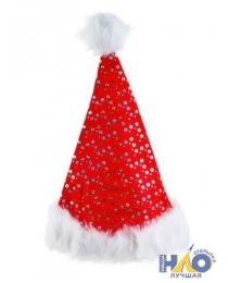 Шапка деда мороза, снегурочки  пушистая, ширина 30 см x высота 38 см, с пушистым мехом, с блестками,