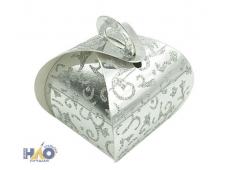 Коробка сборная сундучок 5х5х8см, серебро с узором (компл.=10 шт) ч18910