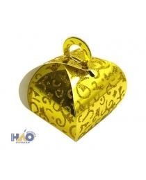 Коробка сборная сундучок 5х5х8см, золото с узором (компл.=10 шт) ч18911