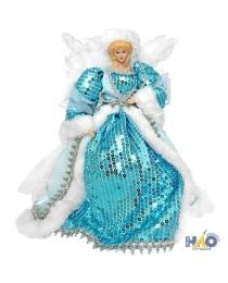 Украшение декоративное АНГЕЛ в голубом платье, 31 см, пластик, полиэстр, 1 шт N15259/ГОЛ