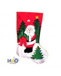 Носок новогодний, с дедом морозом, 40 см, 1 шт/пак, в пакете