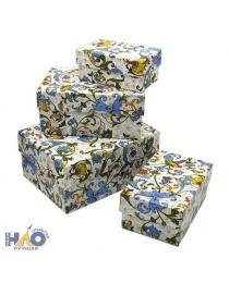 Набор коробок 4 в 1 Цветочный узор (15 х 11 х 7 - 9 х 5 х 4 см) ПП-0600