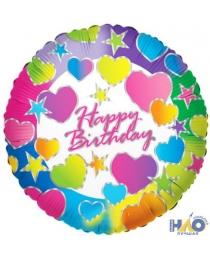 """Шар Ф 18"""" Круг Happy Birthday Сердца/К 45 см Ч16908"""