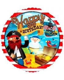 "Шар Ф 18"" Круг Happy Birthday Пираты 45 см"