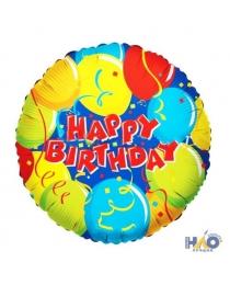 """Шар Ф 18"""" Круг Happy Birthday Конфетти 45 см"""