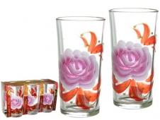 Набор стаканов 6пр 230мл (высокие) худож.роспись 1256/71