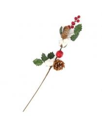 Ветка хвойная с шишками, ягодками и хлопком 57 см ч23698