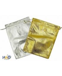 Подарочный пакет: из ткани; цвет-серебро и золото, 12*15 см.