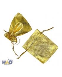 Подарочный пакет: из ткани; цвет-серебро и золото, 7*9 см.