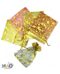 Подарочный пакет: из органзы; цветной с золотистым рисунком, 9*12 см.MC-2372