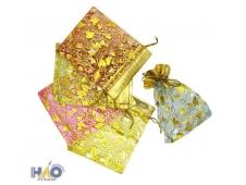 Подарочный пакет: из органзы; цветной с золотистым рисунком, 7*9 см.