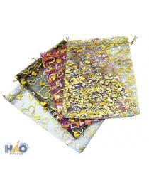 Подарочный пакет: из органзы; цветной с золотистым рисунком, 12*15 см.