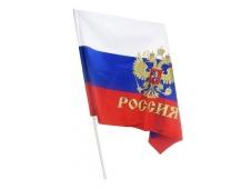 Флажок РФ 25*20 с гербом флагшток 40см
