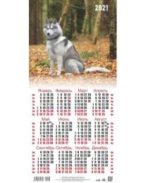 Календарь листовой 2021 Третинка 00002 Собака осенью