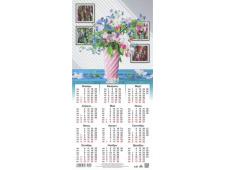 Календарь листовой 2021 Третинка 00011 Розовая ваза с цветами