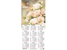 Календарь листовой 2021 Третинка 00013 Белые розы