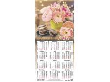 Календарь листовой 2021 Третинка 00014 Розовые цветы с печеньем