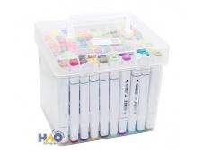 Набор скетч маркеров, 80цв. в чемодане, белый корпус AN-JP777-80W