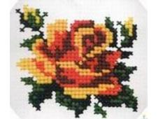"""""""Роза"""", набор для вышивания по канве с клеткой 2,5-2 мм, 5 цветов, 8х8 см, арт.532"""