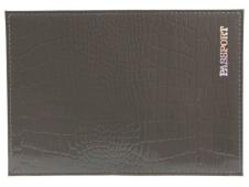 """Обложка для паспорта из натуральной кожи КРОКОДИЛ, серый, тисн.серебро""""PASSPORT"""" ОП-5437"""