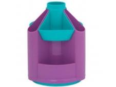 Органайзер для канцелярских принадлежностей вращающийся MINI DESK без наполнения ,пластик,бирюзово- фиалковый