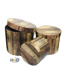 Набор коробок 3в1 цилиндр H20хD17,2/H17,5xD14,6/H14xD12,6см, Дерево