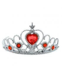 Корона серебряная с красными камнями 7х12х13 см