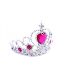 Корона серебряная с розовыми камнями 7х12х13 см