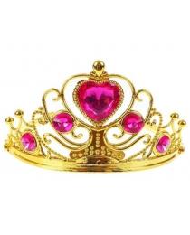 Корона золотая с розовыми камнями 8х11х12 см