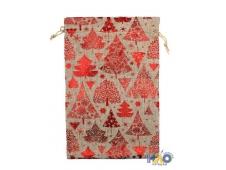 Подарочный мешок: ткань мешковина с елочкой, размер  16*23см, 3шт./упак.
