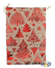 Подарочный мешок: ткань мешковина с елочкой, размер  20*30см