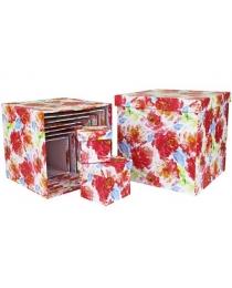"""Коробка/набор 10 шт КУБ  """"Цветы """"  26,5*26,5 см"""