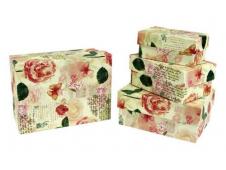"""Коробка/набор №6 Прямоугол.мал """"Розы"""" 4 шт 15*11*7 см"""