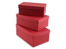 """Коробка/набор 3 шт №74  Прямоугольные """"Красные""""   23*16*9,5см"""