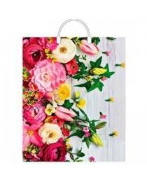 Пакет полиэтиленовый с пластиковой ручкой Нежные цветы (38*45 см) ПЛР00814
