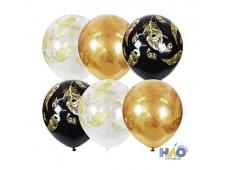 "MР 12""/30см  BLACK&GOLD&TRANSPARENT (шелк) 5 ст. рис. Перо Павлина  25шт шар латекс"
