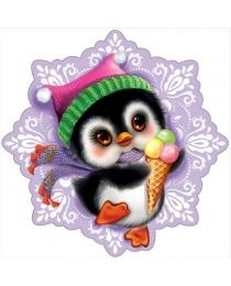 "9200576 Украшение на скотче ""Пингвин на снежинке"""